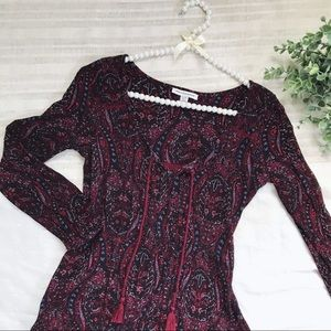 AE • Maroon Patterned Shift Dress